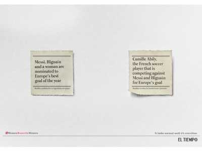 El Tiempo反对妇女性别歧视宣传创意广告 反对性别歧视运动