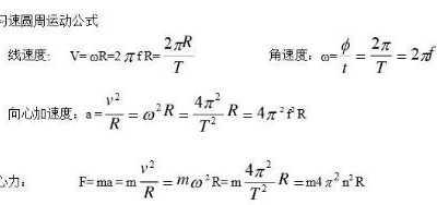 匀速圆周运动公式有哪些 匀速圆周运动速度公式