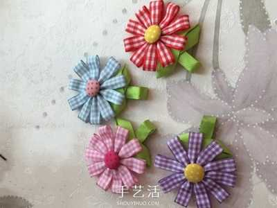 丝带手工制作花朵发饰的做法图解 diy头饰的做法图解